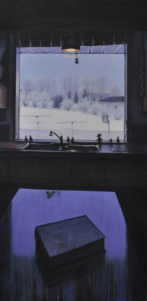 KITCHEN SINK, oil & alkyd on canvas, 48 in. H x 24 in. W, $3300.00Cdn