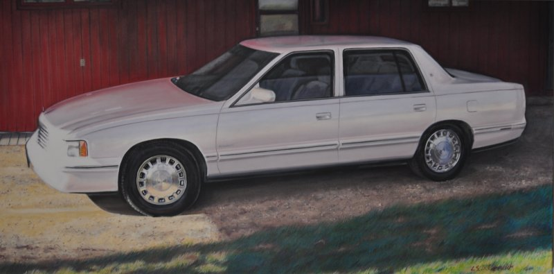THE LAST CADILLAC, oil & alkyd on canvas, 24 in. H x 48 in. W, $3300.00Cdn