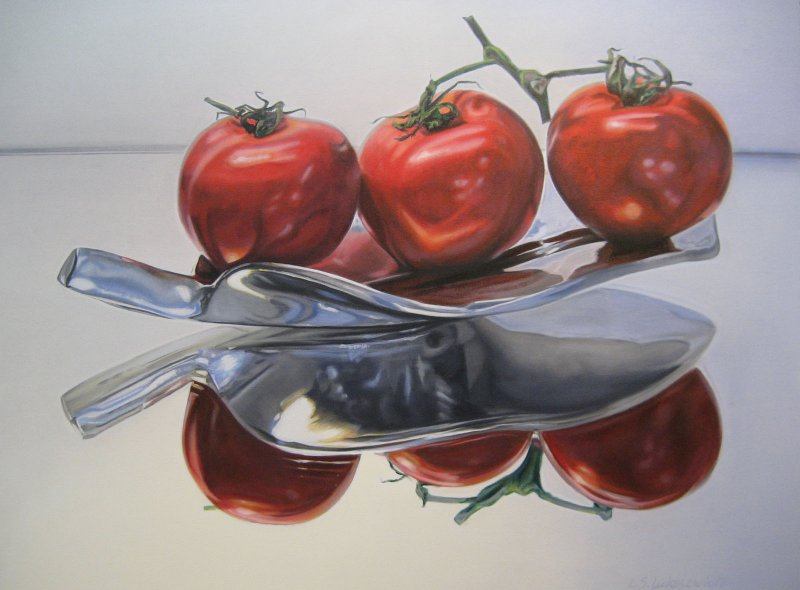 FLOATING TOMATOES, oil & alkyd on canvas, 30 in. H x 40 in. W, $3300.00Cdn