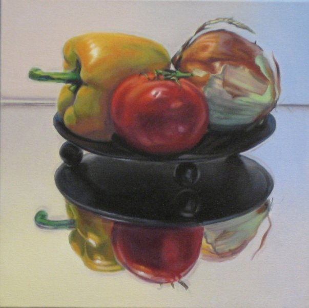 SALSA, oil & alkyd on canvas, 12 in. x 12 in., SOLD