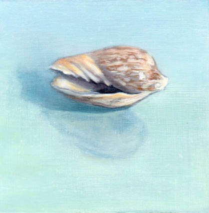 GREEN SHELL STUDY, oil & alkyd on panel, 6 in. x 6 in., SOLD