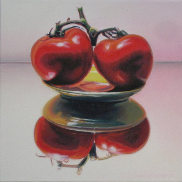 TWO TOMATOES, oil & alkyd on canvas, 12 in. x 12 in., SOLD