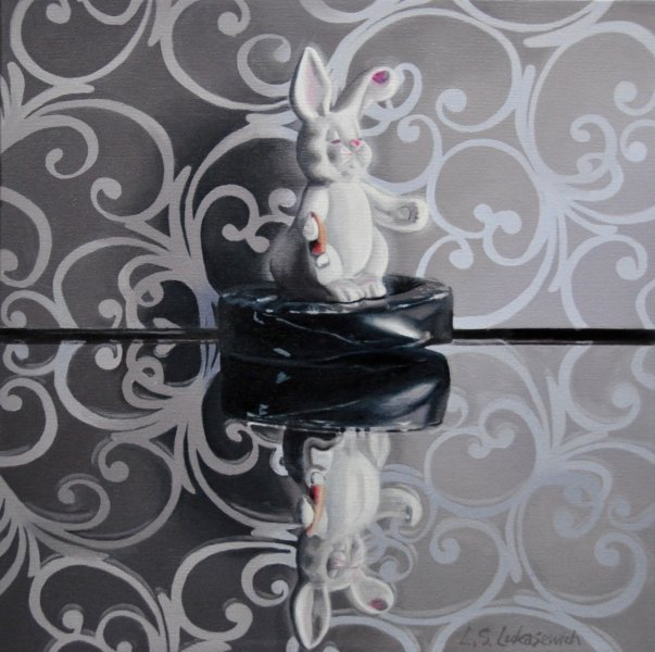 "BunnyArabesque, 16 x 16"", oil and alkyd on canvas, $1200.00Cdn"