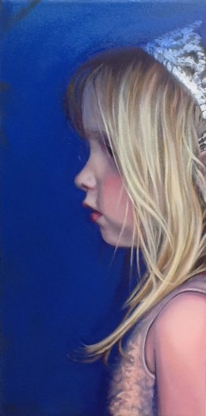 "Serious Princess, Oil & alkyd on canvas 24""h x 12""w $1500.00 Cdn"