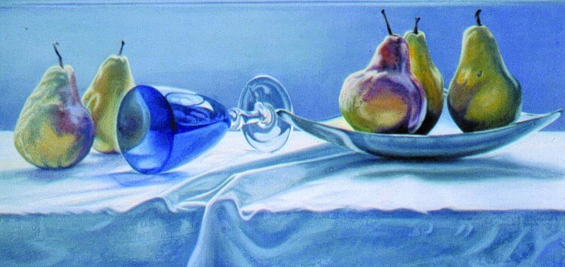 JACKIES BLUE GLASS, oil & alkyd on canvas, 20 in. H x 40 in. W, NFS