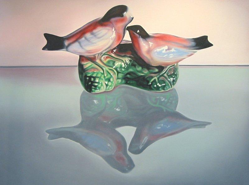 LOVEBIRDS, oil & alkyd on canvas, 30 in. H x 40 in. W, $3300.00Cdn