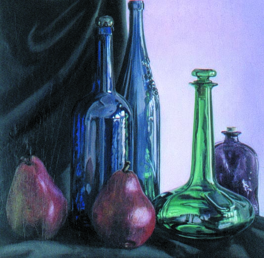 RED ANJOU'S, oil & alkyd on canvas, 20 in. x 20 in., SOLD