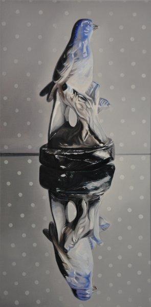 """Blue Bird,Oil & alkyd o canvas24""""h x 12""""w$1400.00 Cdn"""