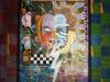 ARCHETYPE/CLOWN, watercolour on paper & acrylic on poplar, 46 5/8 in. H x 37 7/8 in. W, SOLD