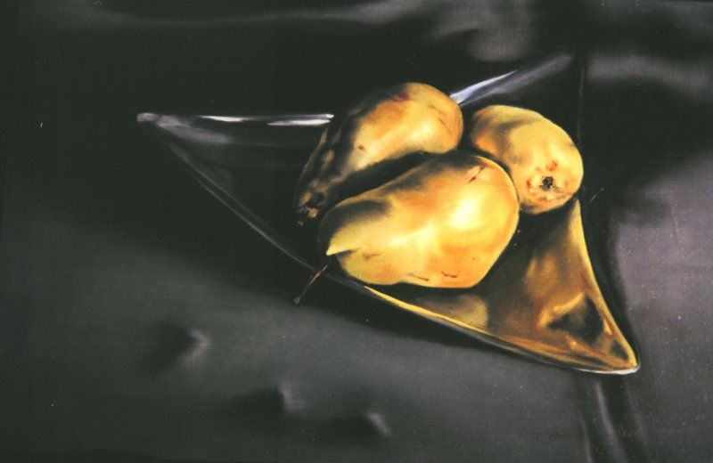BIG PEARS, oil & alkyd on panel, 10 in. H x 14 in. W, SOLD