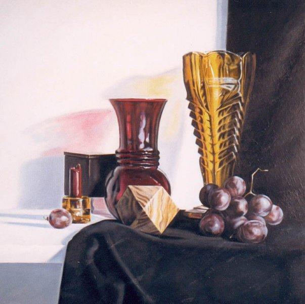 GOLDEN VASE, oil & alkyd on canvas, 28 in. x 28 in., $2000.00Cdn