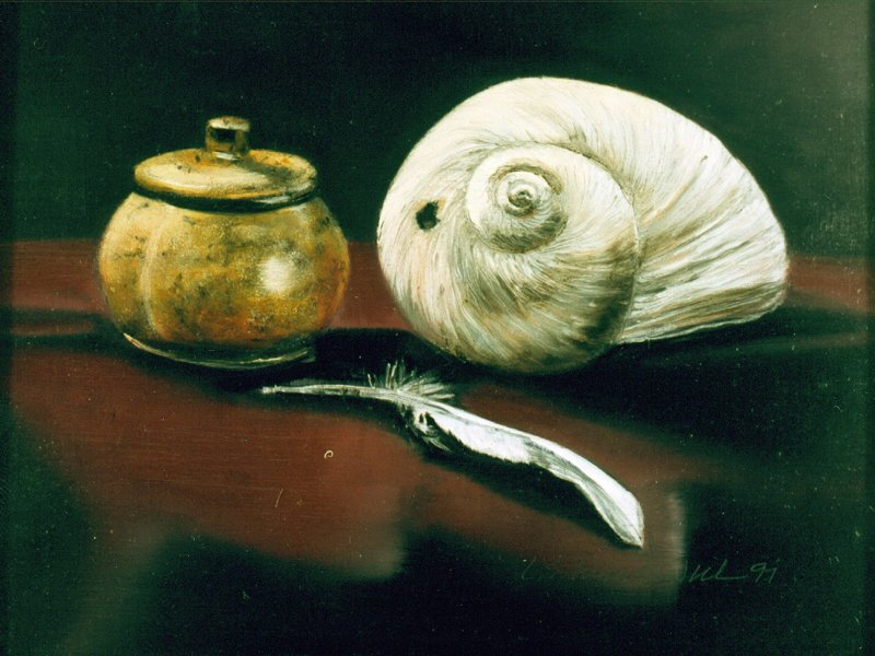 LUCKY MOON SHELL, oil & alkyd on panel, 9 1/2 in. H x 12 in. W, SOLD