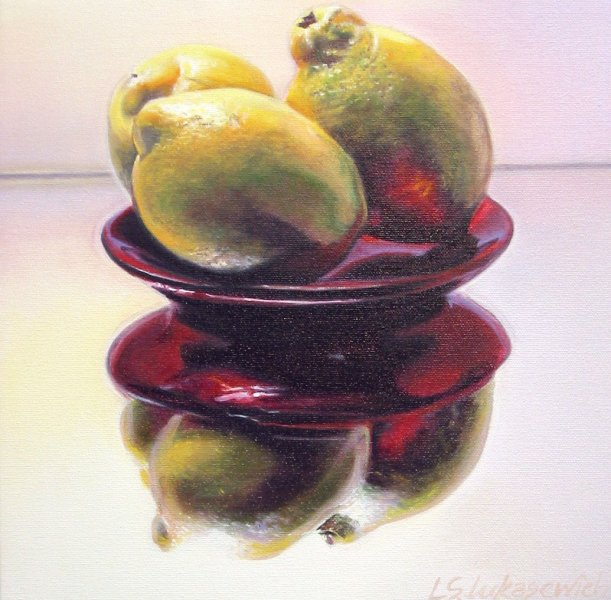 THREE LEMONS, oil & alkyd on canvas, 12 in. x 12 in., SOLD